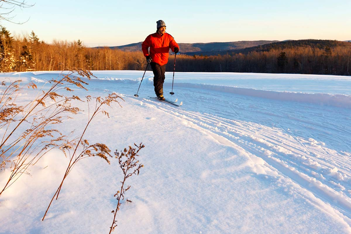 Cross-country skier at dusk